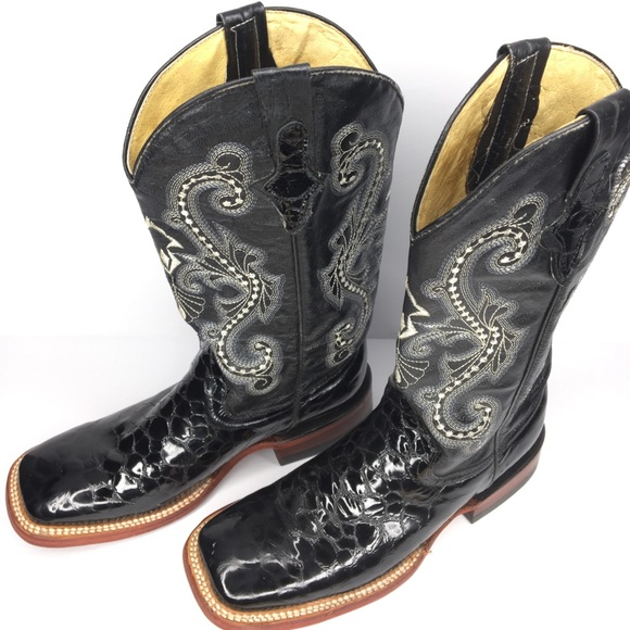 79b2361be77 Ferrini Mens Print Belly Alligator Western Blk 8.5
